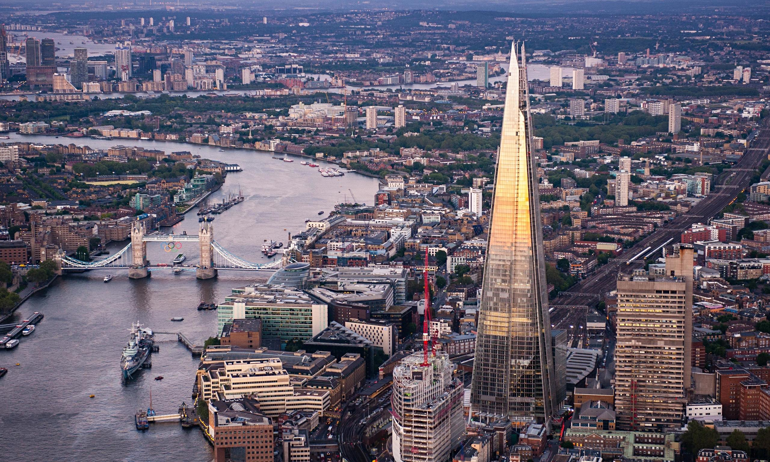 Aerial view of London and the Shard.
